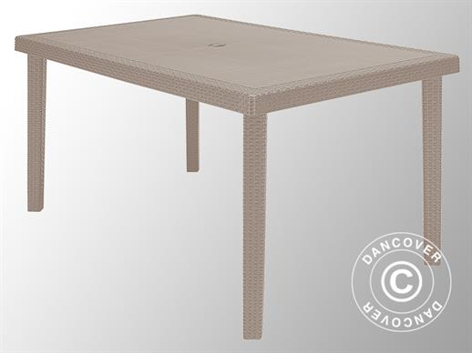 Table de jardin Boheme 150x90x74,5cm, imitation rotin, Jute